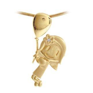 Pingente  Menina com Balão e Brilhante em Ouro Amarelo 18k-750