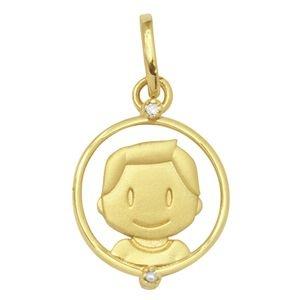 Pingente Menino com Brilhantes  em Ouro Amarelo 18k-750