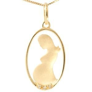 Pingente Mulher Grávida em Ouro Amarelo 18k - 750 com brilhantes