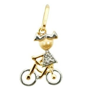Pingente Menina na Bicicleta Ouro 18k