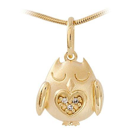 Pingente Mãe Coruja em Ouro 18K-750 com brilhantes