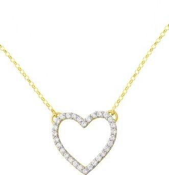 Gargantilha Love com Coração com zircônias brancas em Ouro Amarelo 18k-750