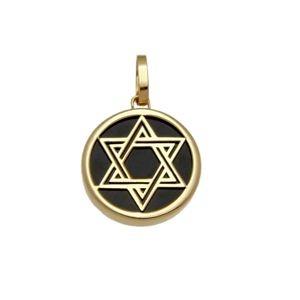 Pingente Estrela de Davi com Onix em Ouro Amarelo 18k-750