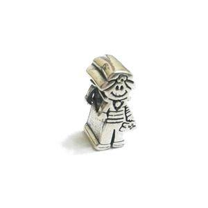 Berloque Menina em Prata  Envelhecida 925