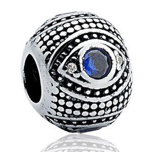 Berloque Olho Grego em Prata Envelhecida 925 com Zirconia - Linha Dreams
