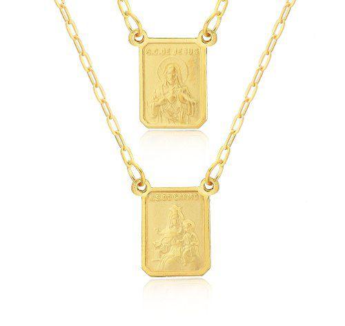 a8b138c3fc1cb Escapulário tradicional em ouro amarelo 18k-750 com medalhas dupla face