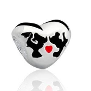 Berloque Coração Casal Minnie e Mickey em Prata 925 - Linha Dreams