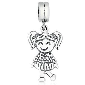Berloque Menina Feliz em Prata 925 com ródio branco - Linha Dreams
