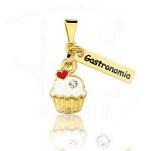Pingente Profissões - Gastronomia FOLHEADO a Ouro 18K