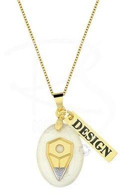 Gargantilha Profissões - Design FOLHEADO a Ouro 18k