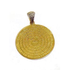 Medalha Pai Nosso com Argola Cravejada de Brilhantes em Ouro 18k-750