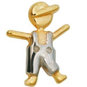 Pingente Menino Feliz em Ouro Amarelo 18K com Brilhantes