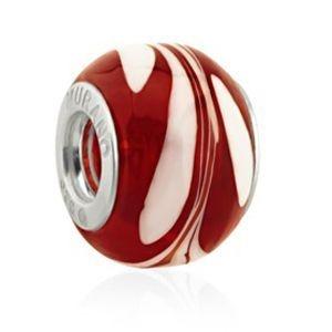 Berloque Murano Vermelho e Branco - Linha Dreams