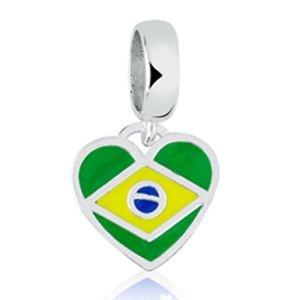 Berloque Coração Brasil em Prata 925 - Linha Dreams