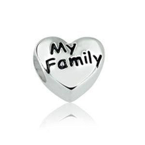 Berloque Infantil Coração My Family em Prara 925 - Linha Dreams