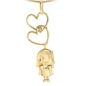 Pingente Menina com Corações em Ouro Amarelo 18K