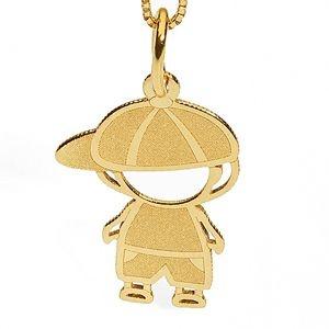 Pingente Menino com Boné em Ouro Amarelo 18k-750