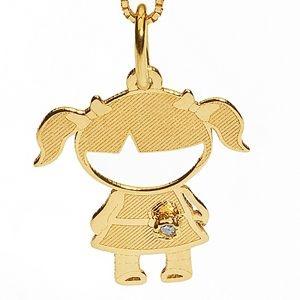 Pingente Menina em Ouro Amarelo 18k-750 com Brilhante