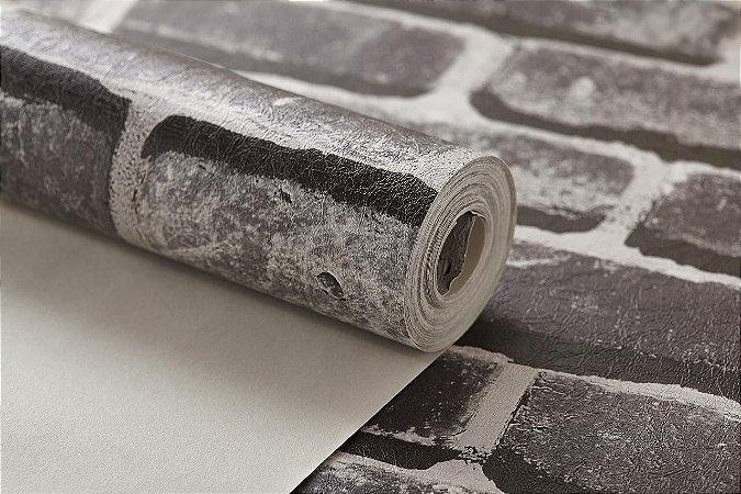 a43f0eae2 Papel de parede importado vinílico lavável texturizado tijolinho 3d cinza  escuro rolo 0.53x9.50m