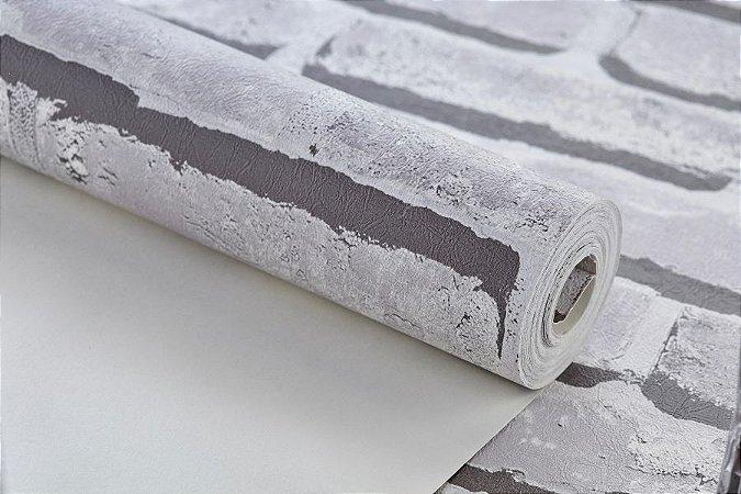 9c0fc1f8a Papel de parede importado vinílico lavável texturizado tijolinho 3d cinza  rolo 0.53x9.50m