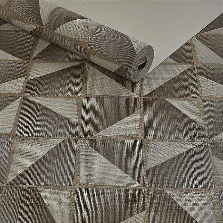 6ecd402cf Papel de Parede Vinílico Lavável Texturizado Geométrico 3D Marrom com prata  dourado