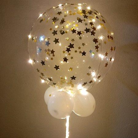 Balão Bubble Festa Led  DOURADO - Acompanha 03 pilhas DURACELL