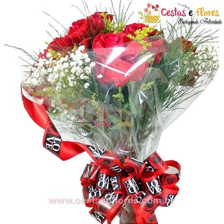 Buque 08 Rosas Colombianas Importadas Vermelhas