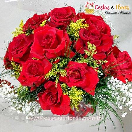 Buque com 12 Rosas Colombianas Importadas Vermelhas