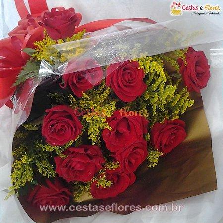 Buque com 12 Rosas Vermelhas Nacionais