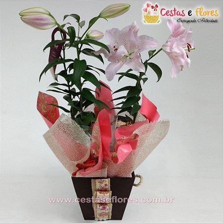 Vaso Pureza de Lírios Rosa