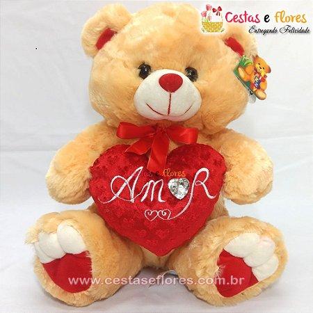 Urso de Pelúcia Laranja com Coração Vermelho