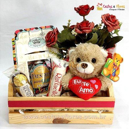 Cesta de Chocolates e Pelúcia com Mensagens para Dias Felizes