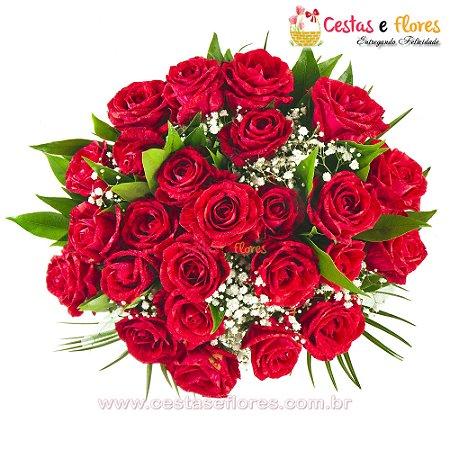 Buque com 24 Rosas Colombianas Importadas Vermelhas