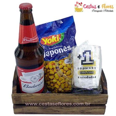 Kit Cerveja e Amendoim com Caneco de Vidro GEEK LUDI