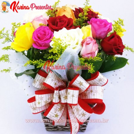 Vaso Mix Festa de Rosas Coloridas