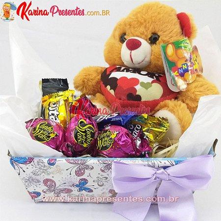 Cesta Mini - Chocolates e Pelúcia Simpática
