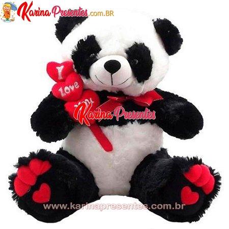 Urso Panda de Pelúcia Coração I Love You