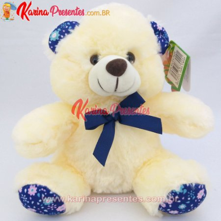 Urso de Pelúcia Creme com Laço Azul