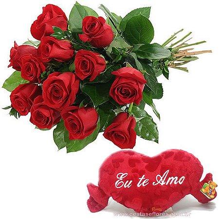 Buque com 12 Rosas Vermelhas Nacionais + Coração TE AMO