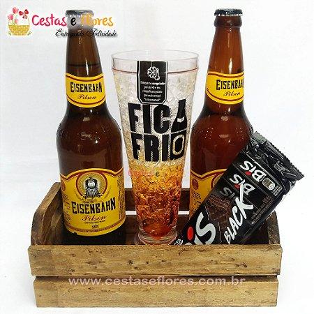 Kit Cerveja e Chocolate com Copo Térmico FICA FRIO