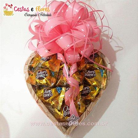 Coração de Chocolates ouro Branco