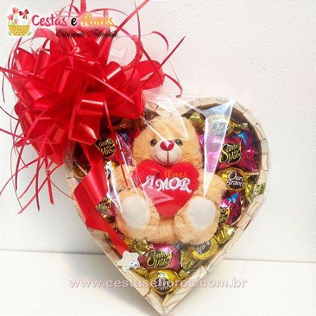 Coração de Chocolates Bombons + Pelúcia