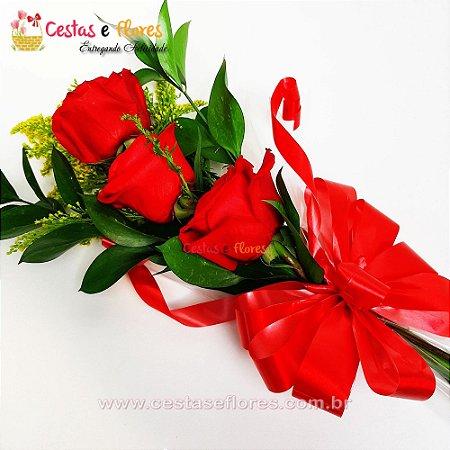 Arranjo de 03 Rosas Vermelhas