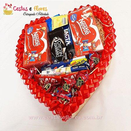 Coração de Chocolates Vermelho