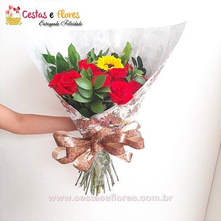 Buque com 18 Rosas Vermelhas Nacionais + Girrasol