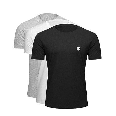 Combo 3 Camisetas CORTUBA de Algodão Básica - Variada (1 Branca, 1 Preta e 1 Cinza)