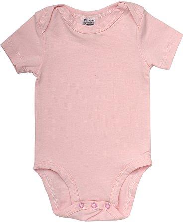 Body Básico Liso Manga Curta Rosa Bebê
