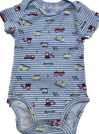 Body Manga Curta Azul Bebê Listrado Carrinhos