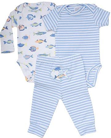 Conjunto de Body 3 Peças - Azul  Com Bordado de Peixe