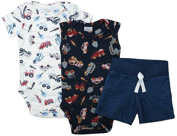 Conjunto Body Carrinho 3 Peças Com Short Jeans